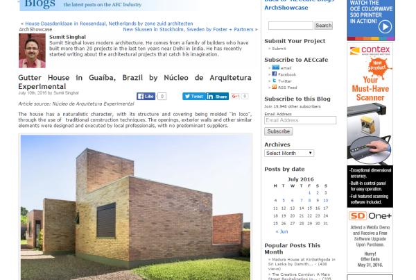 Casa Calha   Núcleo de Arquitetura Experimental AECCAFE 11 07 2016